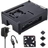 para Raspberry Pi 3 b+ Caja + Cargador con Conector ON / Off + 3 x Disipador +...